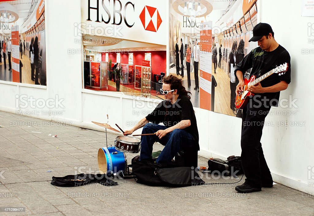 Street musicians in Liverpool royalty-free stock photo