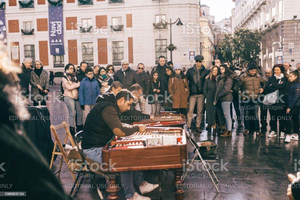 street musicians in Madrid stock photo