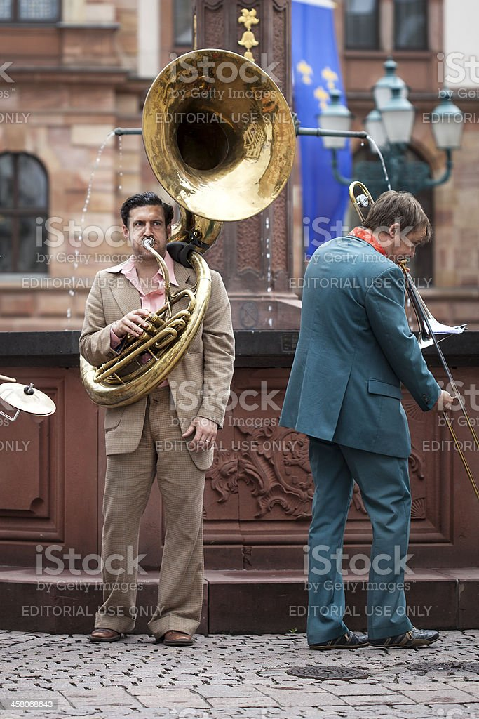 Street musicians in the city center of Wiesbaden, Germany stock photo