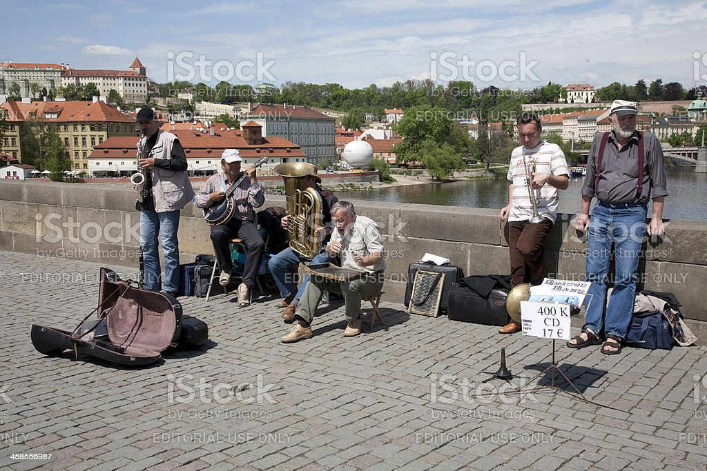 Street Musicians on Charles Bridge, Prague royalty-free stock photo