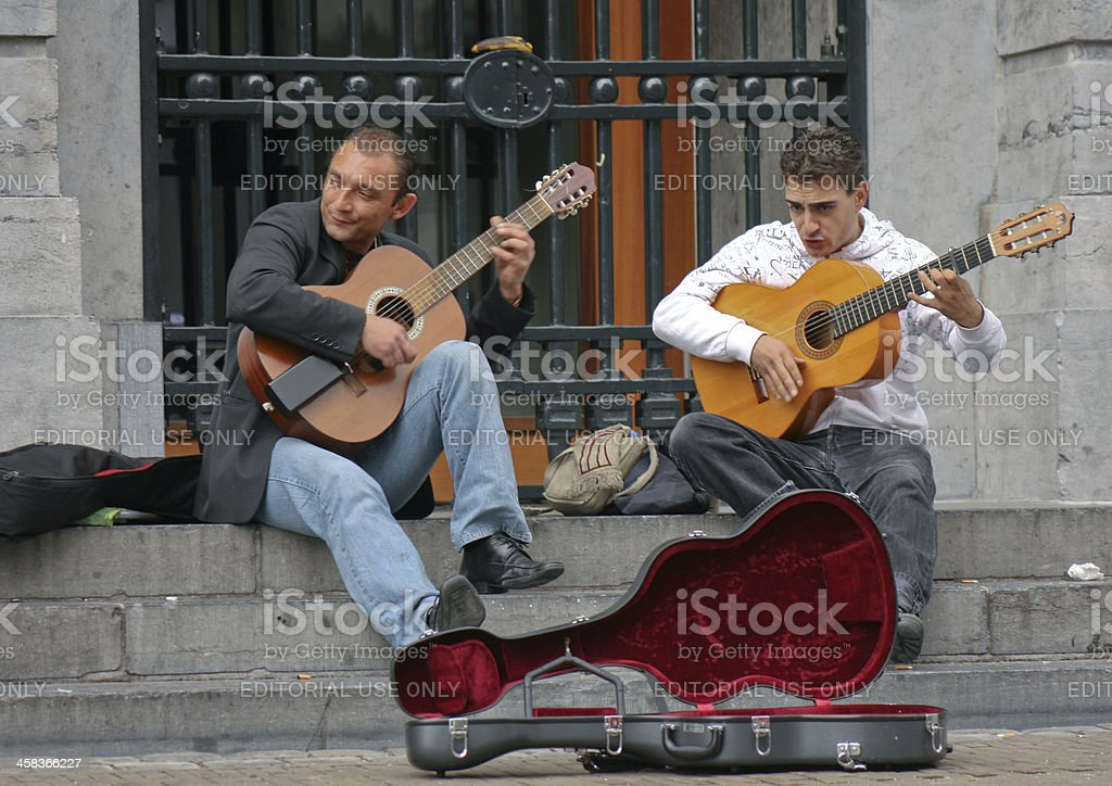 Street musicians performing stock photo