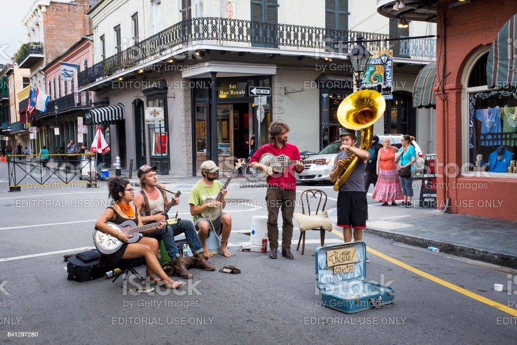 Street musicians playing in a street of the French Quarter in New Orleans stock photo