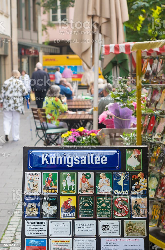 street name sign in dusseldorf, germany stock photo