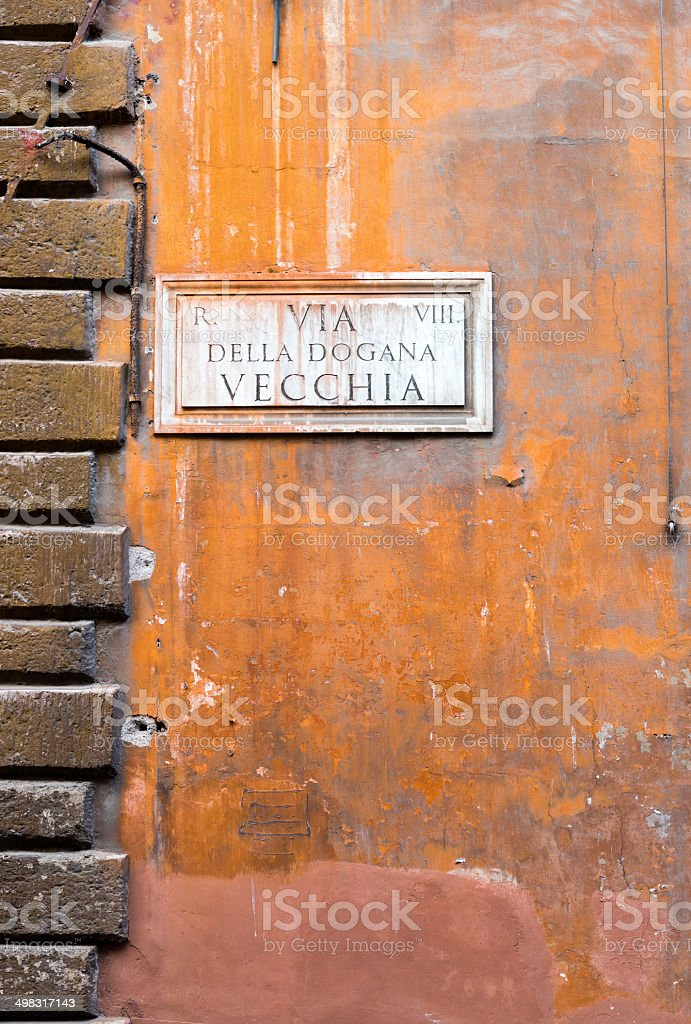 Street name sign in Rome, Italy royalty-free stock photo