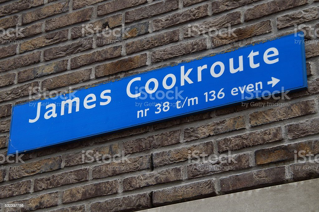 Street name sign James Cook - James Cookroute stock photo