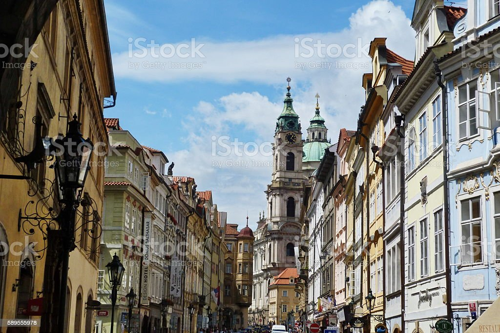 Street near Charles Bridge in the center of Prague stock photo