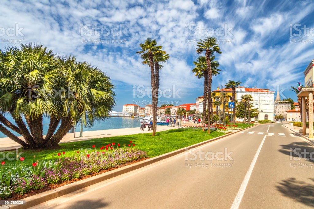Street near the harbor in the city of Porec town on Adriatic sea royalty-free stock photo