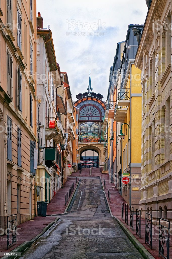 Street near the spring in Evian-les-Bains in France royalty-free stock photo
