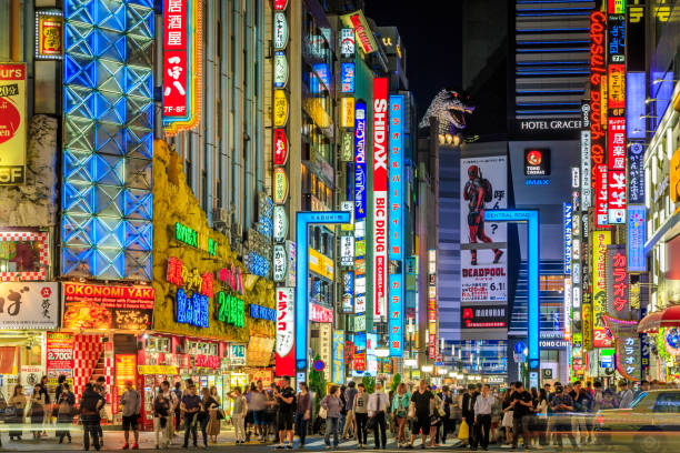 street night - tokyo japan stock photos and pictures