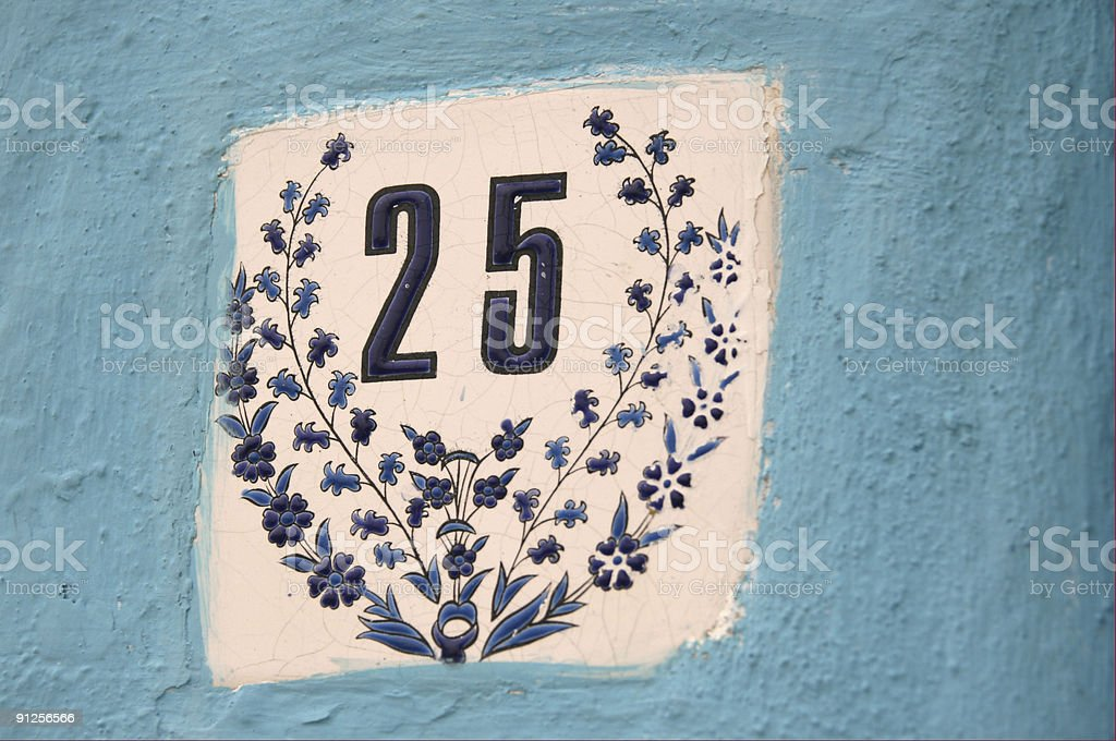 Street number 25 royalty-free stock photo