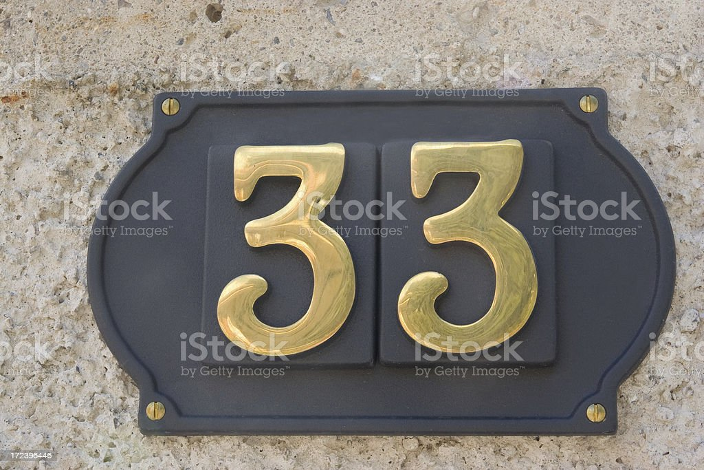 Street Number 33 royalty-free stock photo