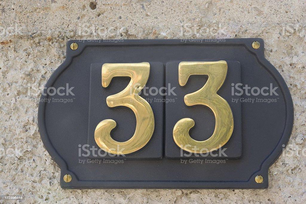 Street Number 33 stock photo