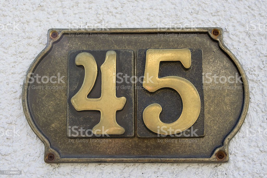Street Number 45 royalty-free stock photo