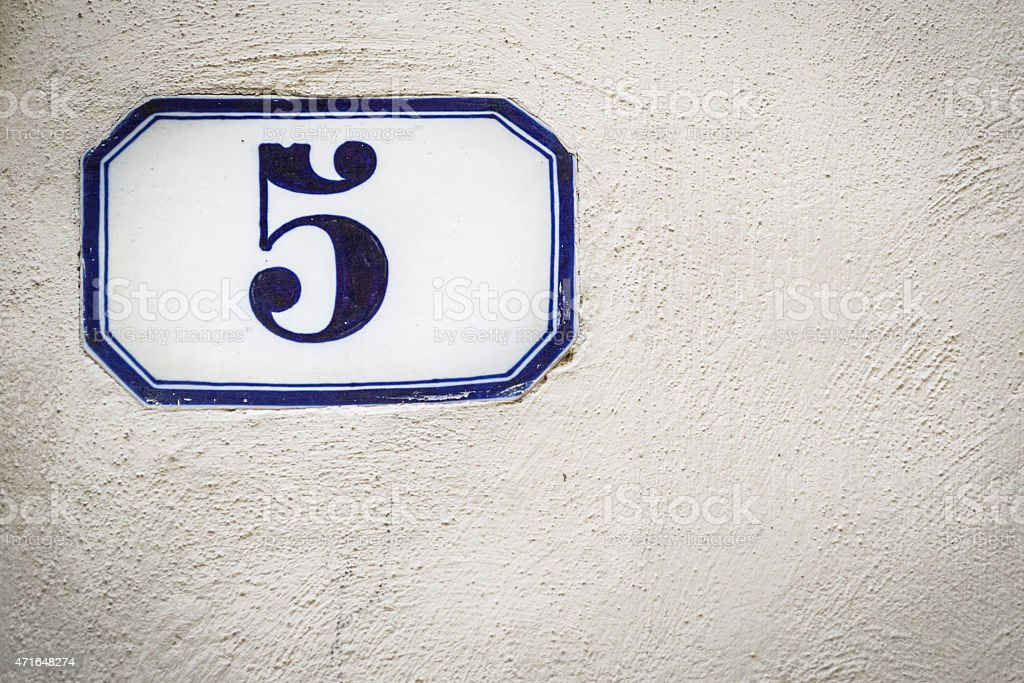 Street Number 5 stock photo