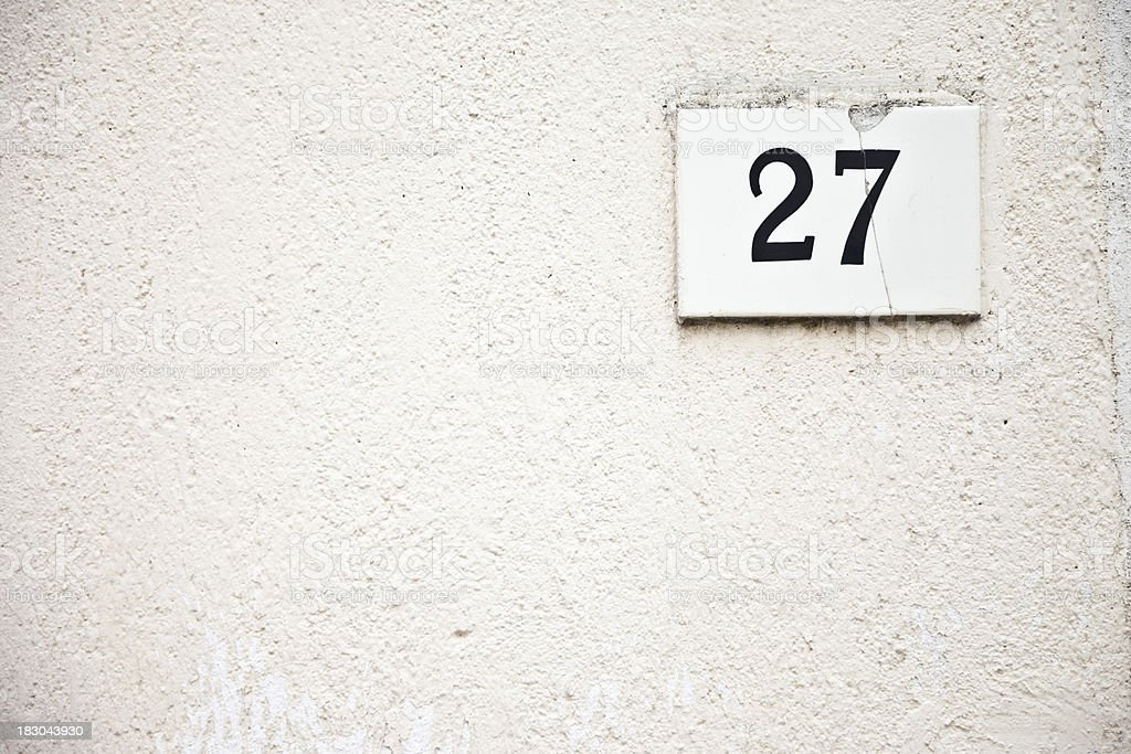 27, Street Number On The Wall stock photo