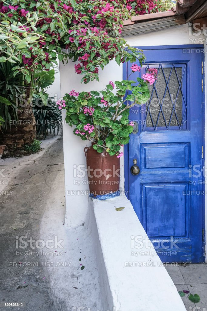 Street of Anafiotika in the old town of Athens in Greece. stock photo