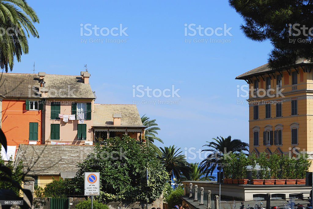 Strada di Arenzano e Mar Mediterraneo foto stock royalty-free
