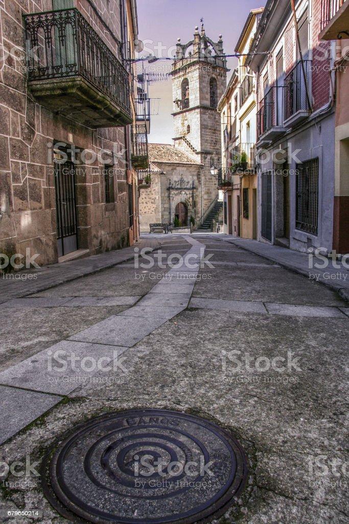 street of Banos de Montemayor old town, Spain stock photo