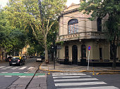 Buenos Aires, Argentina - February 6, 2020: View of cobblestone street in Palermo district with mostly houses, not buildings. There are still lots of areas like this in the city