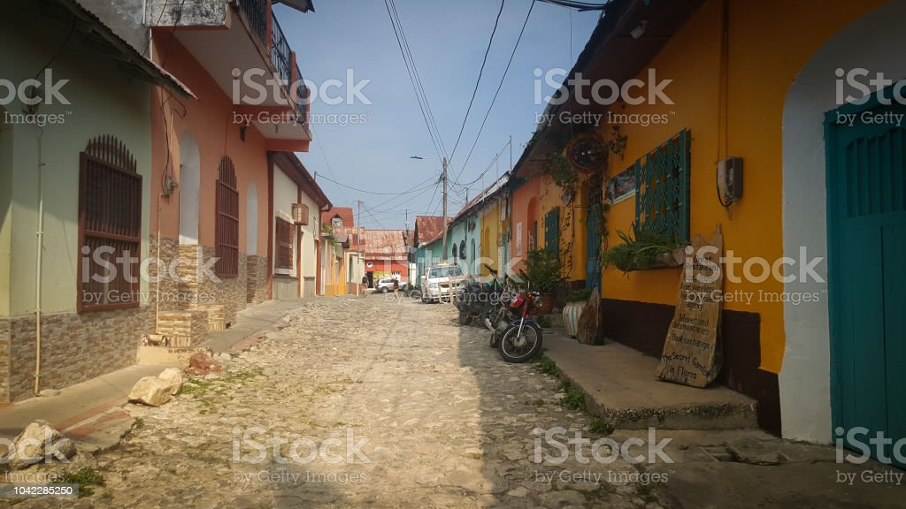 Street of Flores, Guatemala stock photo