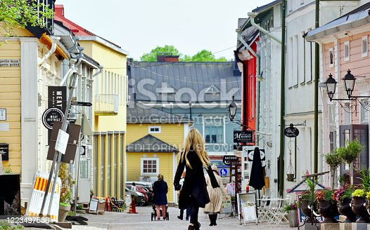 Porvoo, Finland –May  23, 2019: Old town fascinates people of all ages. Old town is full small boutiques, fine restaurants and friendly cafes.
