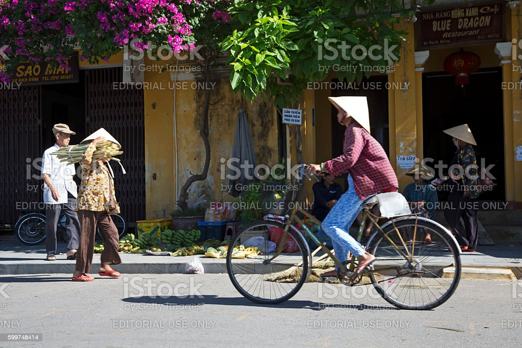 Street of Hoi An in Vietnam stock photo