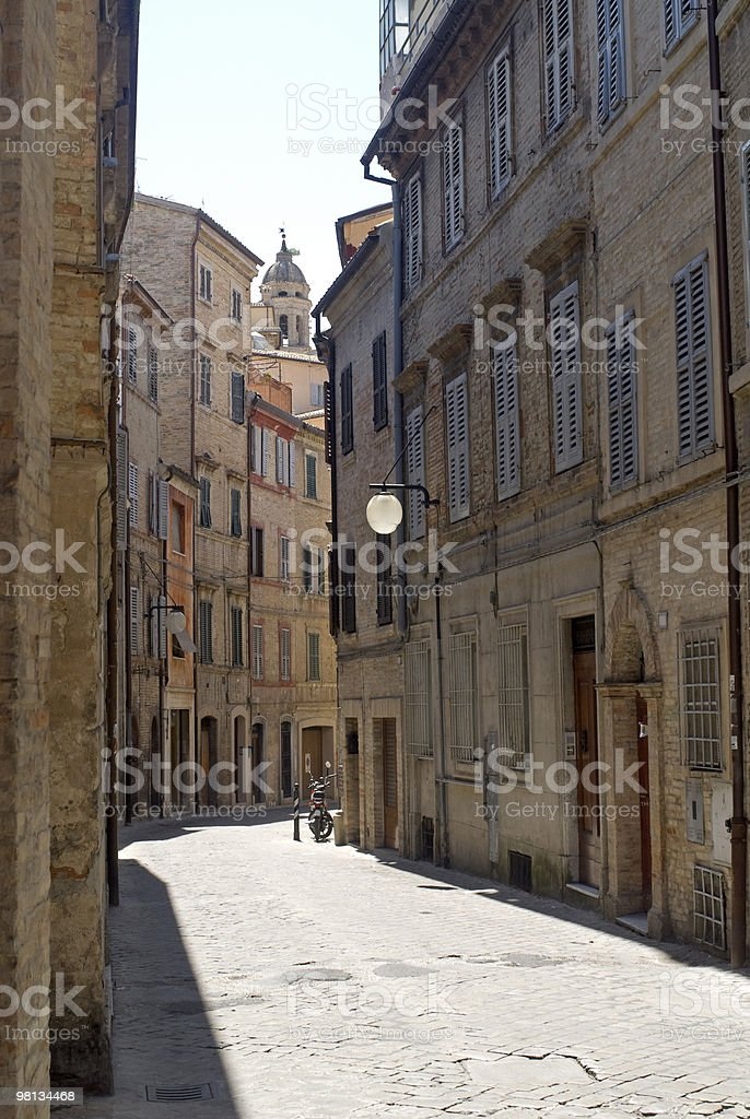 Street of Macerata (Marches, Italy) with old buildings royalty-free stock photo