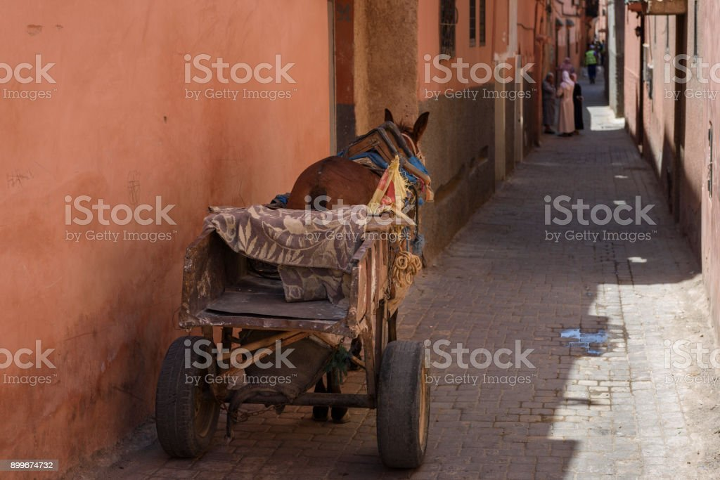 street of Marrakech with a cart stock photo