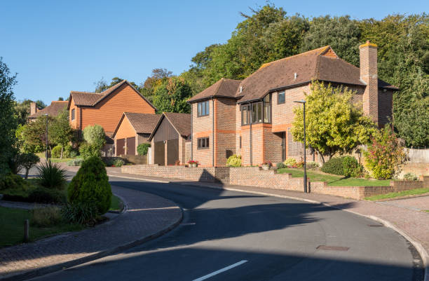 Street of modern English detached homes stock photo
