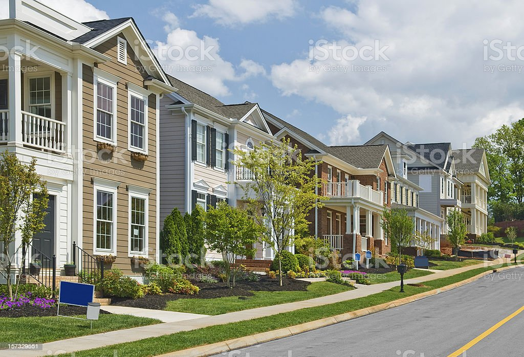 Street of New Luxury Home Construction royalty-free stock photo