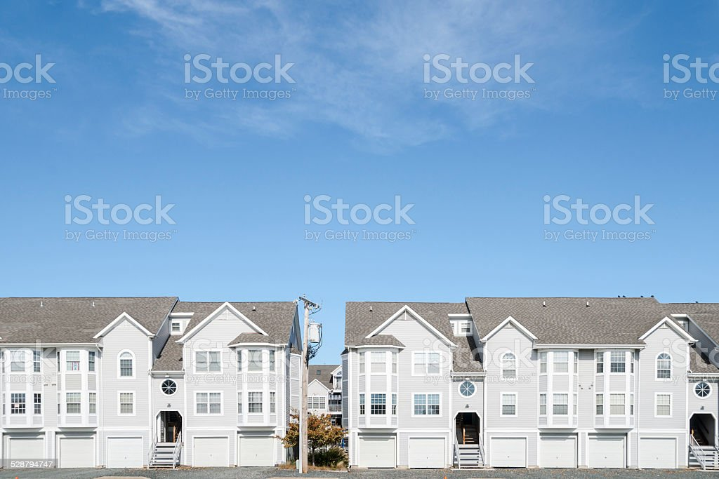Street of new townhouses. stock photo