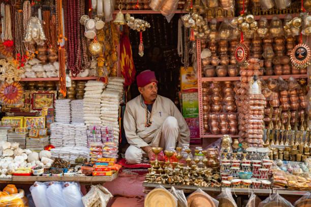 Street of Old City, Varanasi, India stock photo