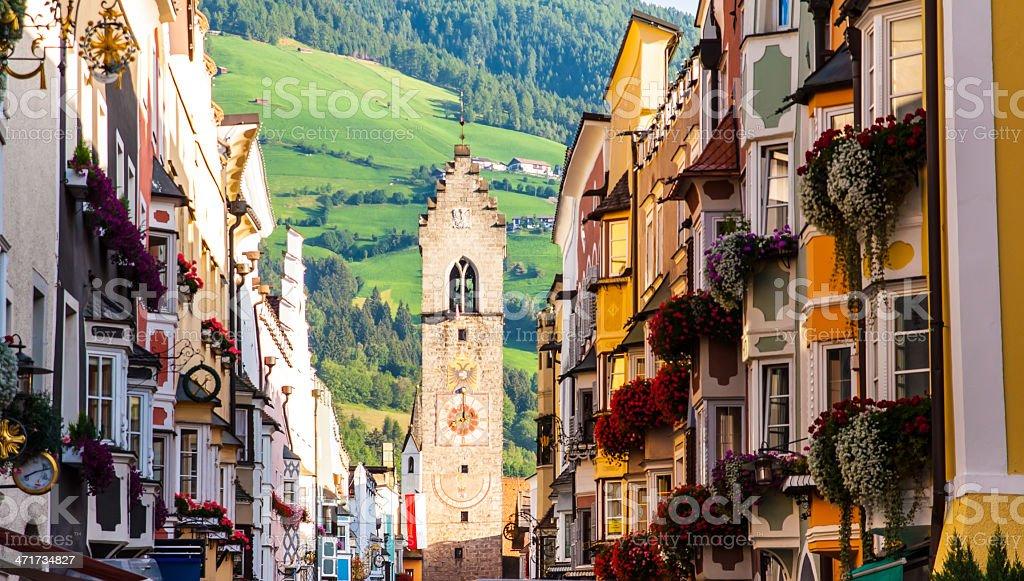 street of old europian town Vipiteno, Italy stock photo