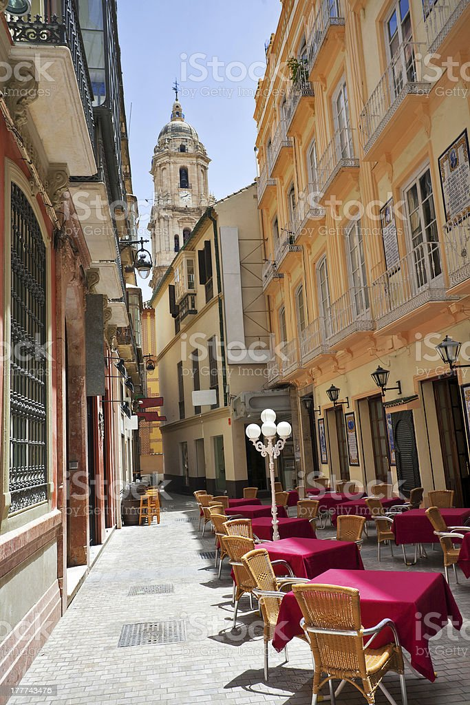Street of old Spanish town. stock photo