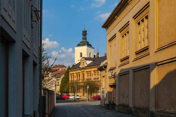 Street of old town. Turnov, Czech Republic. stock photo