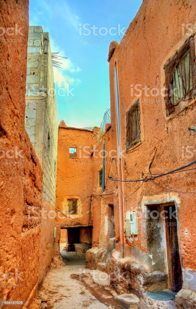 Street of Ouarzazate, a city in south-central Morocco stock photo