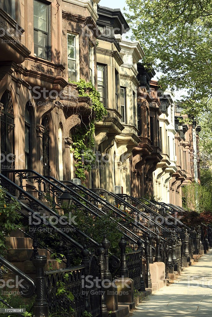 Street of Park Slope Brooklyn Brownstone Townhouses royalty-free stock photo