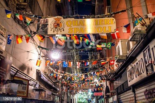 Naples, Italy - August 7, 2017: Street of Quartieri Spagnoli neighborhood of Naples at night, Campania, Italy