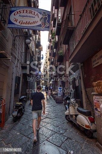 Naples, Italy - August 7, 2017: Street of Quartieri Spagnoli neighborhood of Naples, Campania, Italy