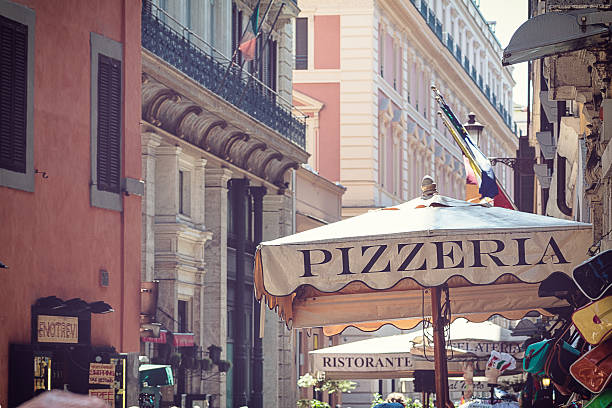 street of rome - pizzeria stock photos and pictures