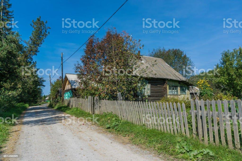 Street of siberian village stock photo