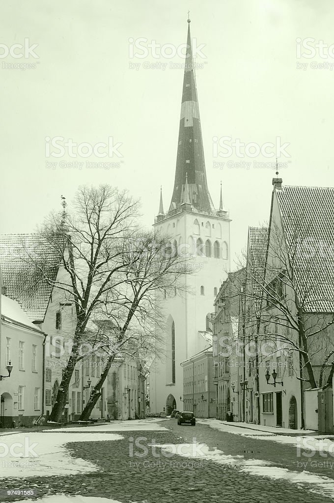 Street of Tallinn in the winter royalty-free stock photo