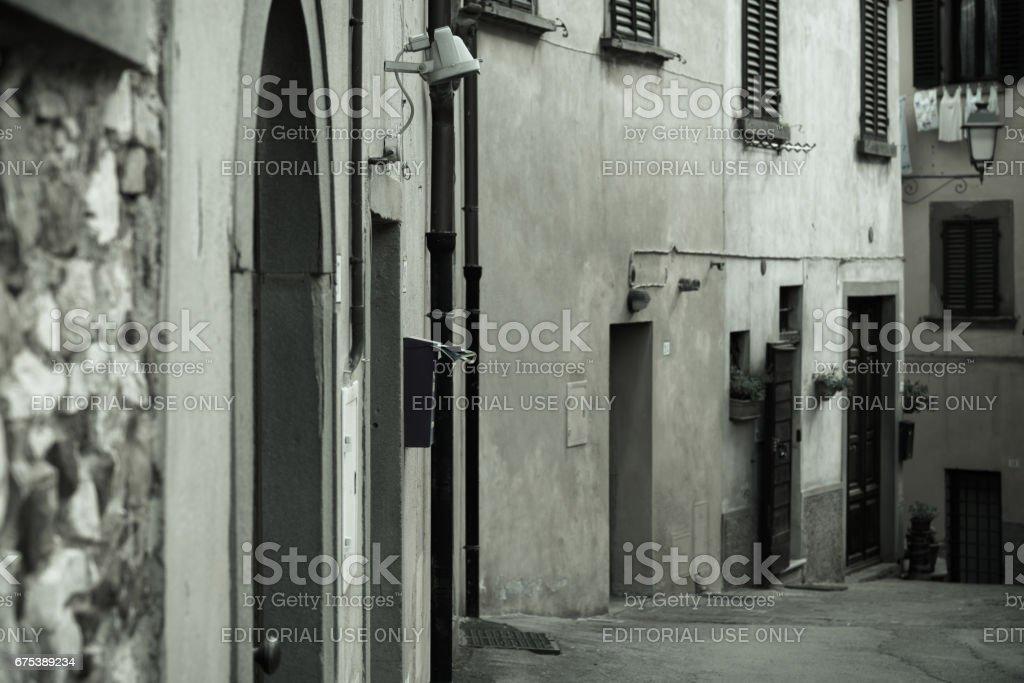Street of the beautiful town of Radda stock photo