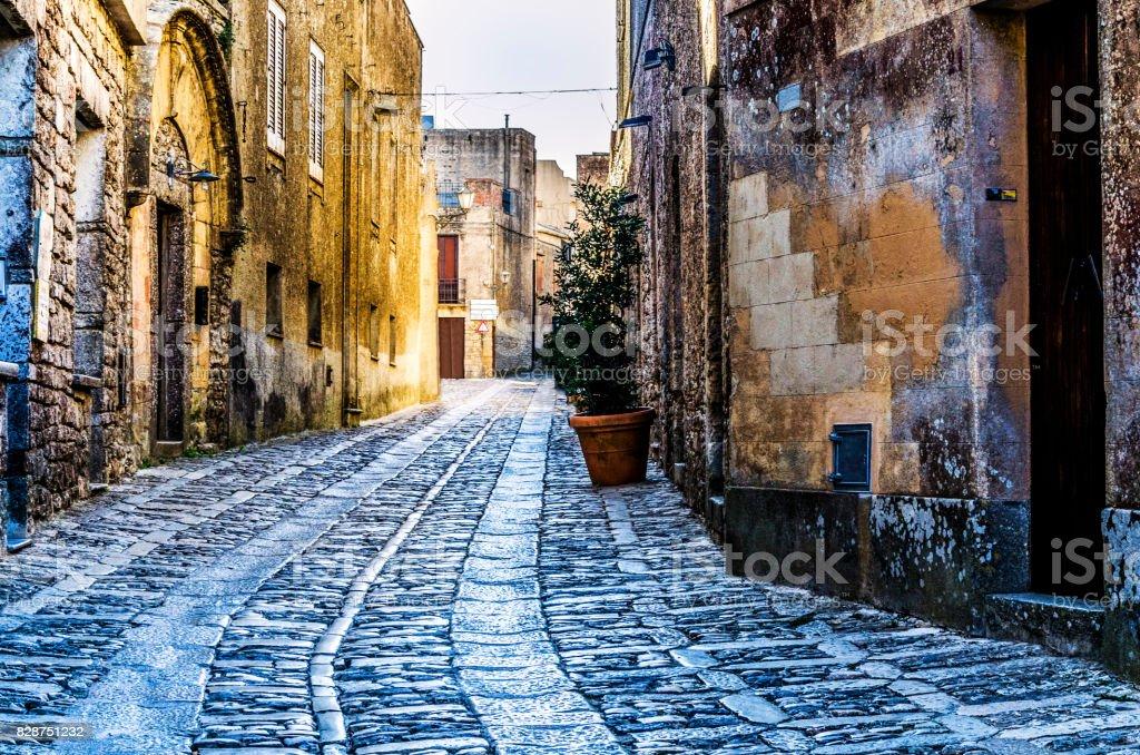 Street of the city of erice sicily stock photo