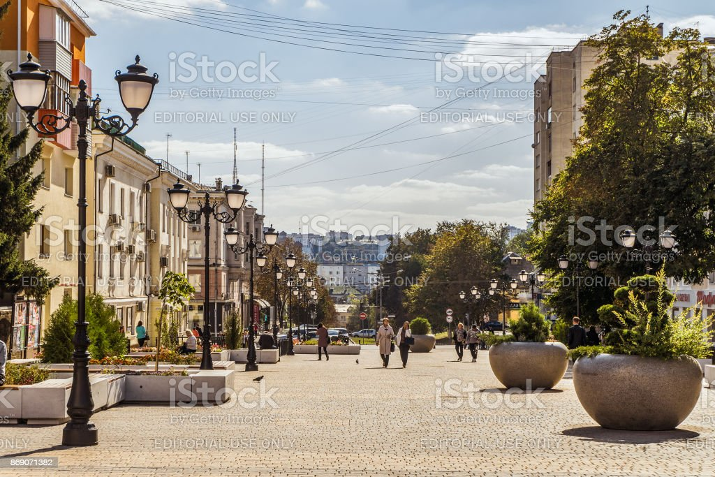 Street of the fiftieth anniversary of the Belgorod region. Pedestrian street in the old residential center of the city. Urban environment. stock photo