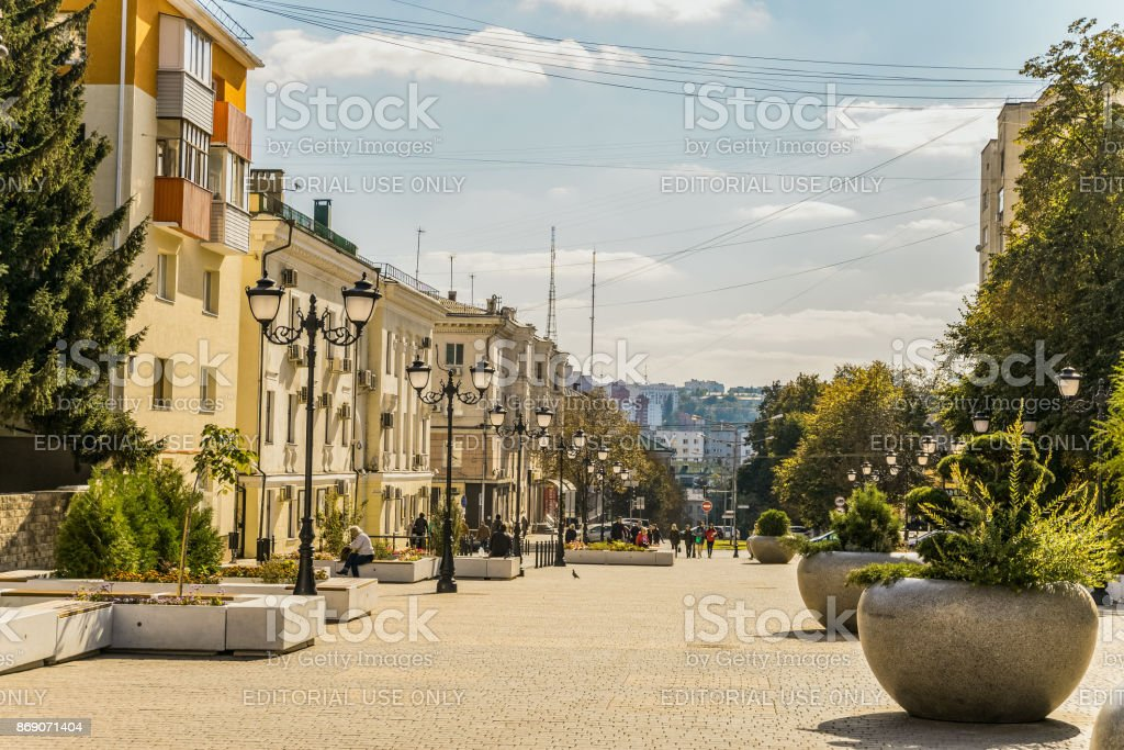 Street of the fiftieth anniversary of the Belgorod region. Pedestrian street in the old residential center of the city. City environment stock photo