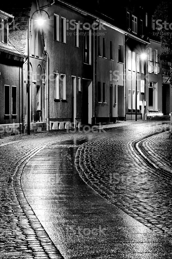 Street of the old town at night royalty-free stock photo