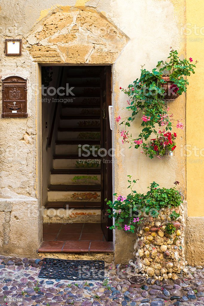 Street of the old town of Alghero, Sardinia, Italy stock photo