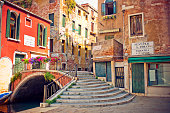 View to a street and bridge in Venice, Italy