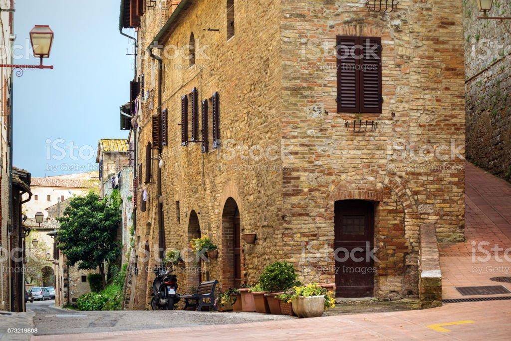 street old town San Gimignano stock photo
